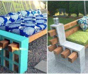 Bloques de Hormigón y Palos de Madera; Combinación Perfecta para Muebles Creativos