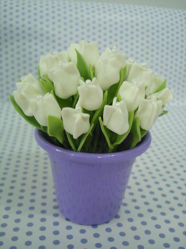 paso a paso y moldes para elaborar tulipanes con tela