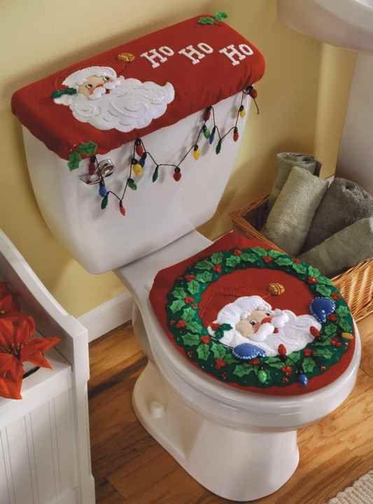 15 ideas para elaborar adornos navide os con fieltro - Decoracion navidena para banos ...