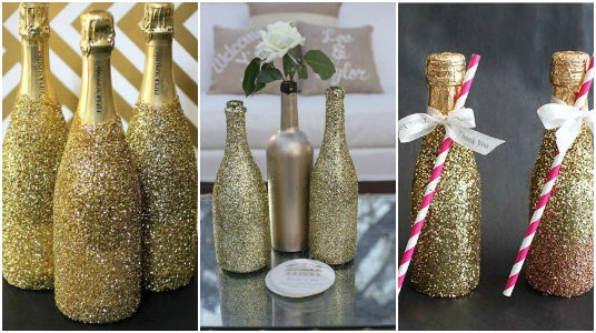 Las Mejores 15 Ideas Para Decorar Botellas Con Glitter - Decorar-botellas