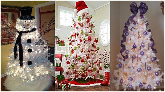 Maneras de decorar un rbol de navidad color blanco - Decorar arbol de navidad blanco ...