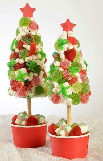 Pinos de navidad hechos con dulces - Arboles de navidad de chuches ...