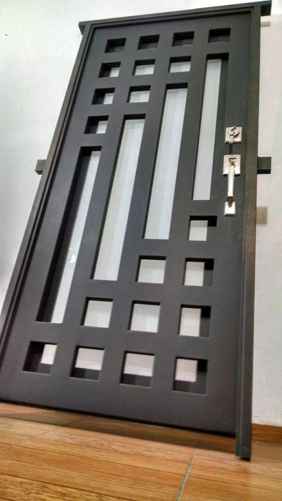 Dise os de puertas de herrer a m s modernas y m s hermosas - Puertas de vidrio para chimeneas ...