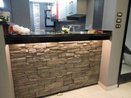 Decorando la barra cocina con piedra - Piedra para cocina ...